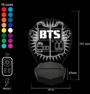 Luminária Abajur Led Mod: Grupo Bts Coreana Kpop - 16 Cores + Brinde Exclusivo