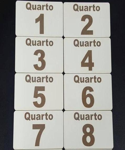 Kit Placa Mdf Bco C/ Número Gravado Porta Quarto Hotel 8 Pç