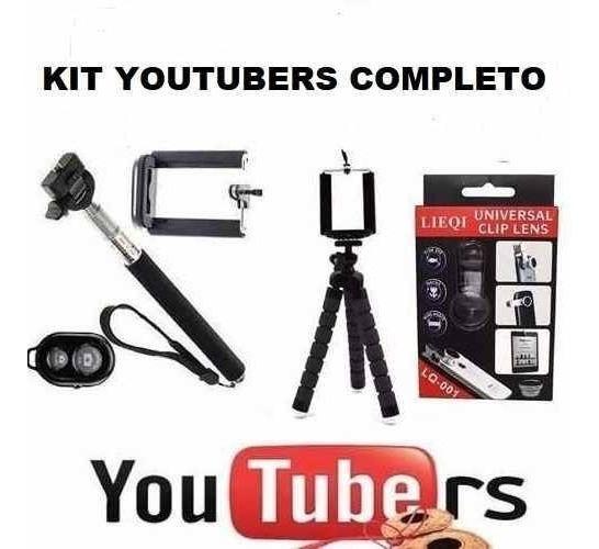 Kit Youtubers Gravação Mini Tripé Selfie iPhone Frete Fixo