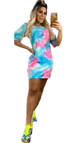 Camisão Vestido Tie Dye Roupa Feminina Colorida Lançamento