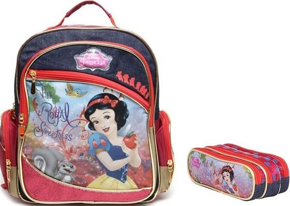 Mochila Escolar Princesas Disney 36958 + Estojo 36955