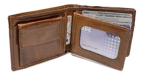 Billetera Hombre Cuero Con Monedero Volante Capacidad Para 6 Tarjetas Porta Documentos Pesos Euros Dolares Modelo 0051