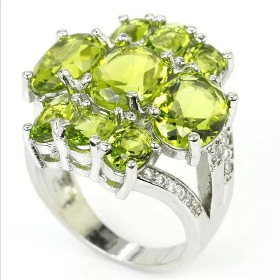 Bello Anillo Piedra Peridoto Verde Y Cz Blanco Plata #6.5