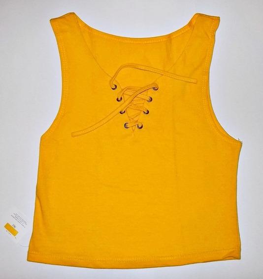 Top Musculosa Amarilla - Escote Acordonado