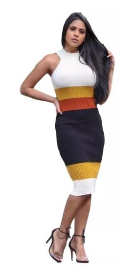 Vestido Midi Gola Alta Multicolor Em Tricor Modal