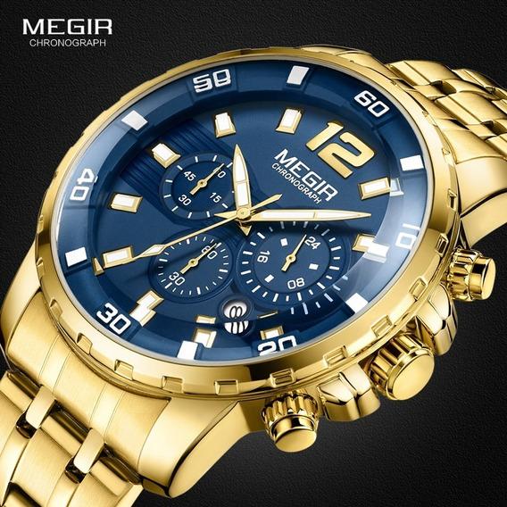 Megir Relógio Quartzo De Aço Inoxidável Dourado Masculino
