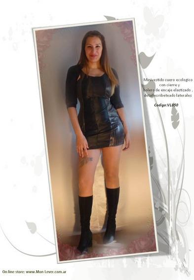 Vestido Corto Tela Engomada Elastizado Con Bolero De Regalo