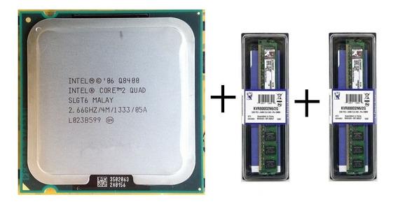 Kit Intel Core2quad Q8400 + 4gb 2x2gb Ddr2 Kingston + Pasta