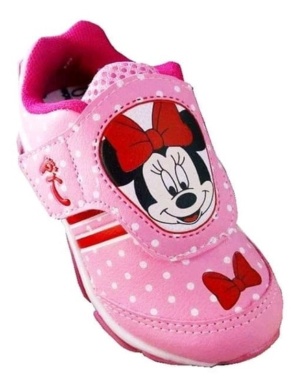 Tenis Led Infantil Minnie E Mickey Velcro