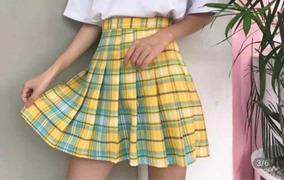 Falda Coreana Corea Kpop Amarilla Cuadrillé A Cuadros