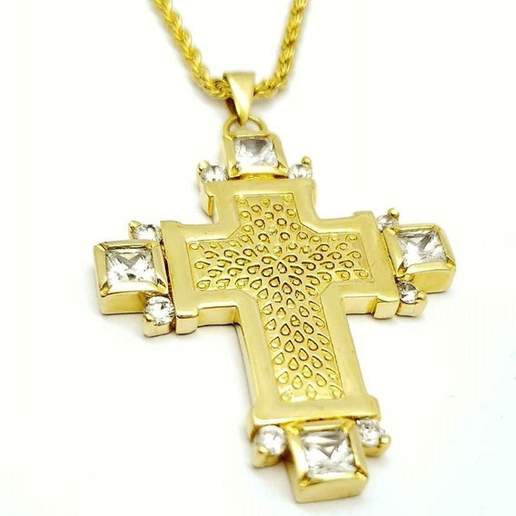 Cordão E Crucifixo Com Zirconias Banhados A Ouro 18k 593