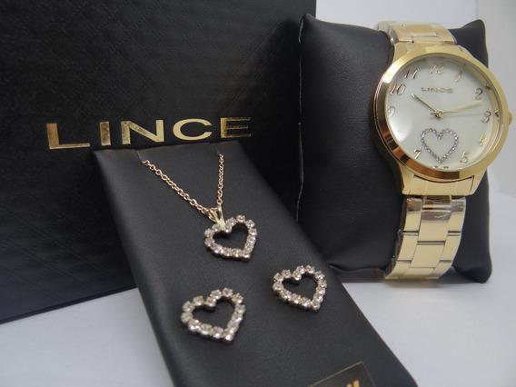 Kit Relógio Feminino Brinco Cordão Lince Lrg4454l