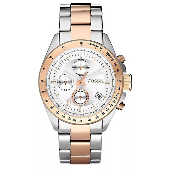 Relógio Fossil De Aço Prata Com Rose Chronograph Fch2686n