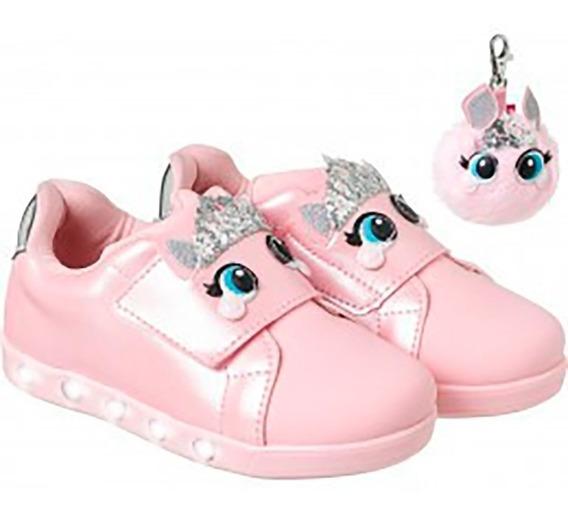 Tenis Infantil Pampili Sneaker Luz Princess Dot Rosa 27 E 28