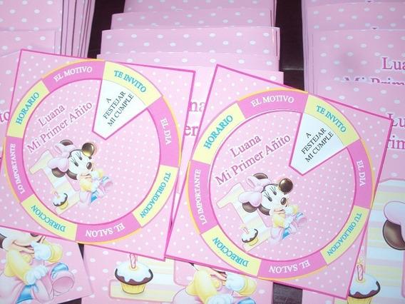 Minnie Bebe Invitacion Tarjetas Con Sobre Personalizada X 25