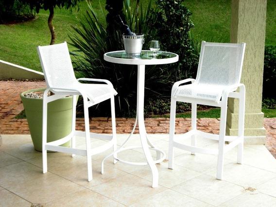 Banqueta Cadeira Alta Lótus Aluminio E Tela Sling Balcão Bar
