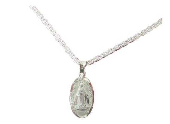 Medalla Virgen Milagrosa Plata Pura Con Cadena Plata Pura.