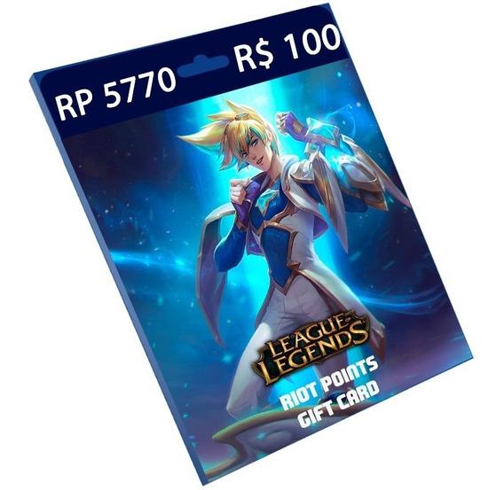 Cartão League Of Legends R$ 100 5.770 Riot Points Rp Brasil