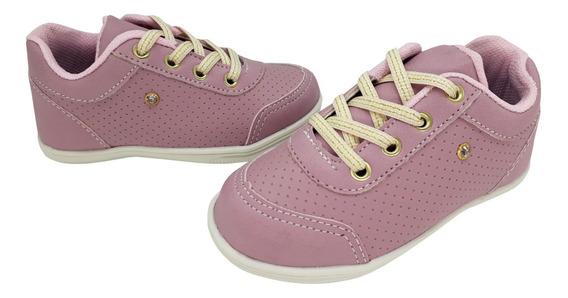 Tênis Infantil Foxxion Baby Menina Com Cadarço De Glitter