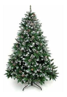 Árbol De Navidad Frondoso 210cm Ramas Verdes Nevado