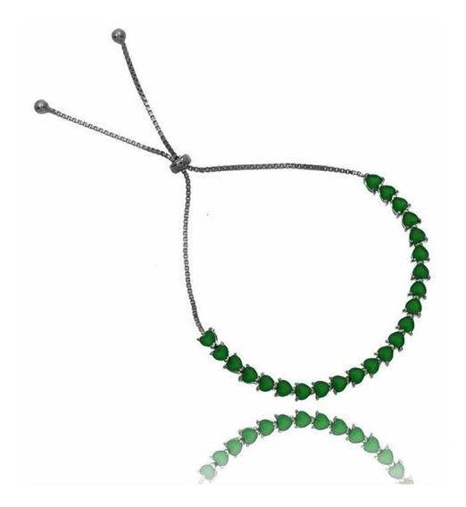 Pulseira Ródio Negro Ajustável Corações Verdes Esmeraldas