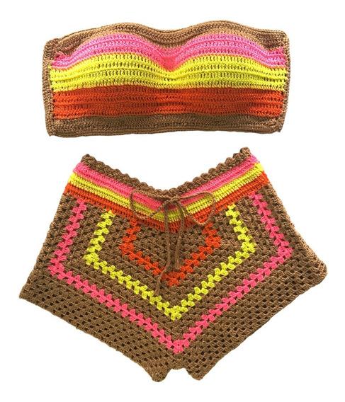Conjunto De Crochê Neon Com Bojo Short Forrado Lançamento
