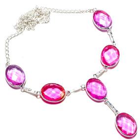 Colar Feminino - Folheado A Prata - Pedra Rosada