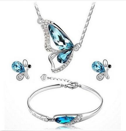 Elegante Conjunto Brincos + Gargantilha +pulseira +cristais