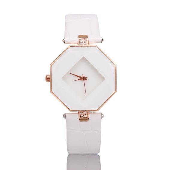 Relógio De Pulso Quartzo Couro Sintético Cristal - Branco