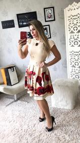 Vestido Godê Malha Piquet Com Pregas Moda Evangélica