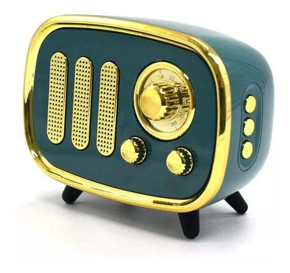Caixa De Som Estilo Radio Antigo Retro Bluetooth Usb Card