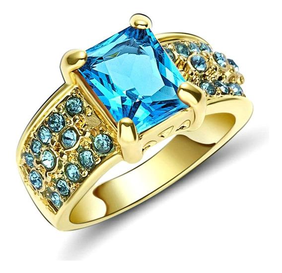 Aro 22 Anel Feminino Água Marinha Cristal 3banhos Ouro 875 P
