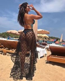 Saida Praia Saia Renda Amarrar Canga Moda Lançamento 2019
