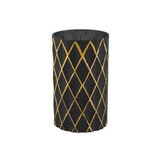 Vaso Em Vidro 20x12cm Dourado E Preto