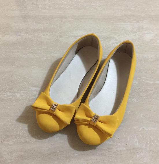 Sapatilha Menina Amarela Número 30