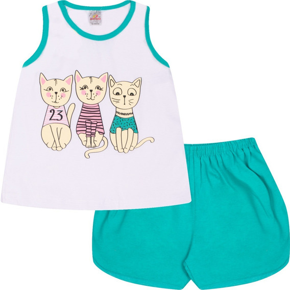 Pijama Infantil Menina Conjunto Regata E Short Verão Isensee