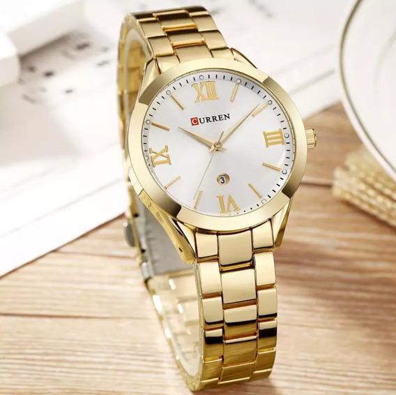 Relógio Feminino Curren Dourado De Luxo Quartz Original 9007 + Estojo Curren Frete Grátis