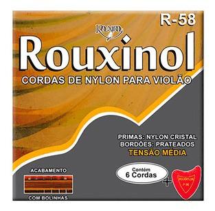 Encordoamento P/ Violão Nylon Tensão Média Rouxinol R-58