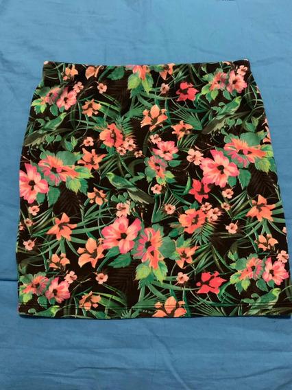 Minifalda Verde Con Flores