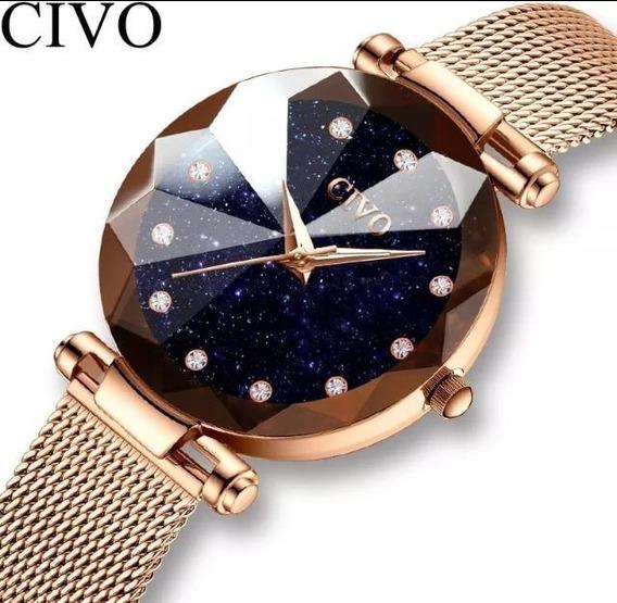 Relógio Feminino Civo Original Casual De Luxo A Prova D