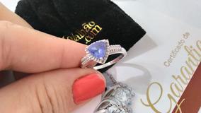 Anel Tanzanita Natural, Prata 925 E Diamantes C/ Garantia