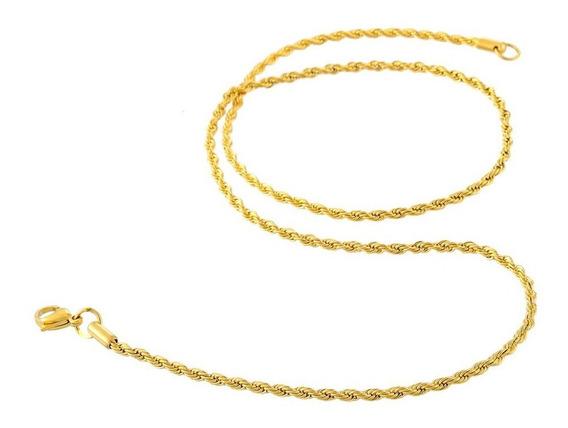 Corrente Fina Torcida Masculina 55cm 2mm Aço Banhado A Ouro