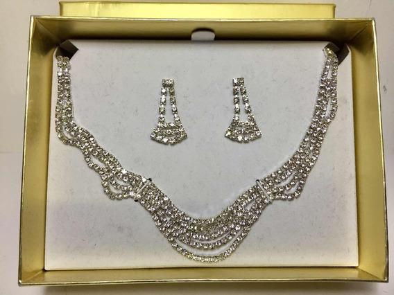 Collar Gargantilla Con Aretes Set Plateado Oferta