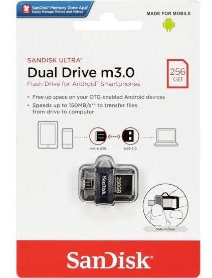 Mini Pen Drive Dual Drive M3.0 256 Gb Em Estoque - Promoção