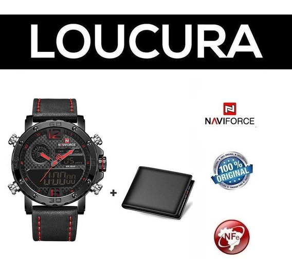 Relógio Esportivo Militar Naviforce Red + Carteira Brinde