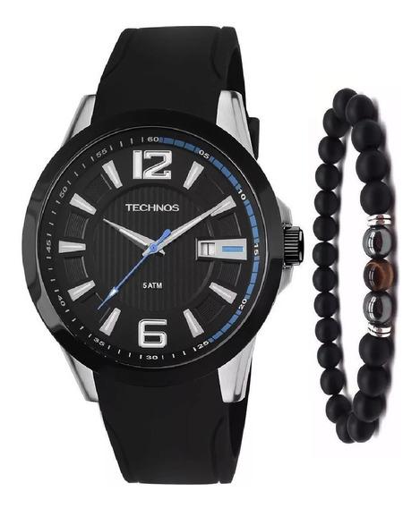 Relógio Masculino Technos 2115knw /8p + Pulseira Pedra Onix