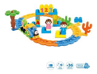 Tren Infantil Pista Tren De Colores 29 Piezas Duende Azul