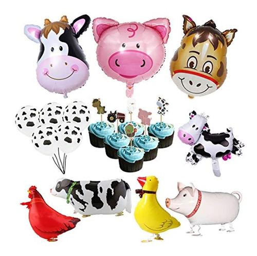 Dlonline Granja Animal Fiesta De Cumpleaños Globo Decoración