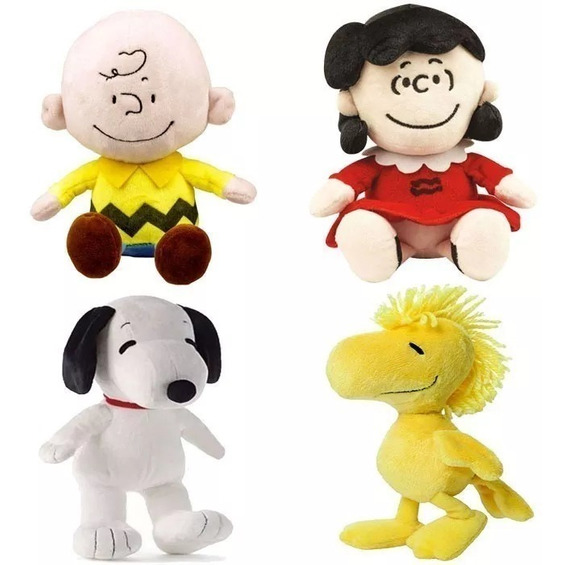 Kit 4 Pelucias Snoopy E Charlie Brow Lucy Woodstock Dtc Orig