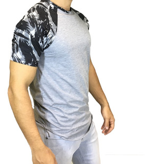 Camisa Camiseta Oversized Longline Raglan Camuflada Escaping